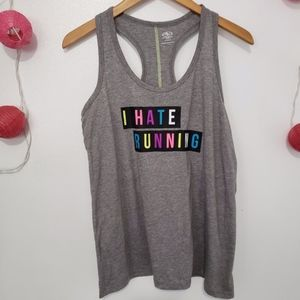 "ATHLETIC WORKS ""I hate running"" racerback L"